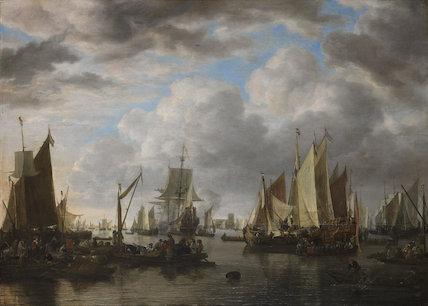 Shipping before Dordrecht, by Simon de Vlieger