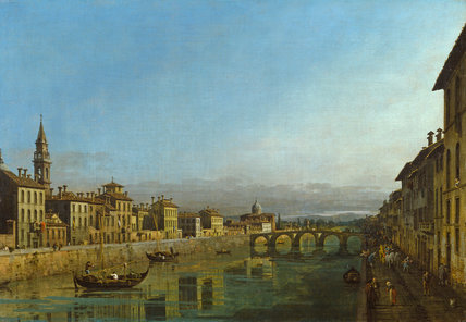 The Arno with the Ponte Alla Carraia, by Bernardo Bellotto