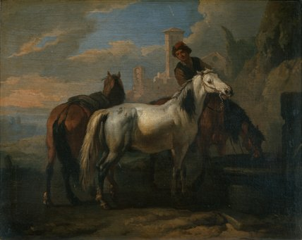 Horses drinking at a fountain, by Pieter van Bloemen