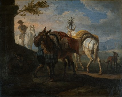 Mules Halting by the Wayside, by Pieter van Bloemen