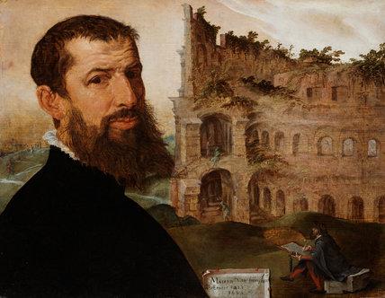 Self-portrait, with the Colosseum, by Maerten van Heemskerck