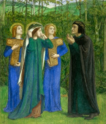 Dante and Beatrice meeting in Purgatory, by Rossetti