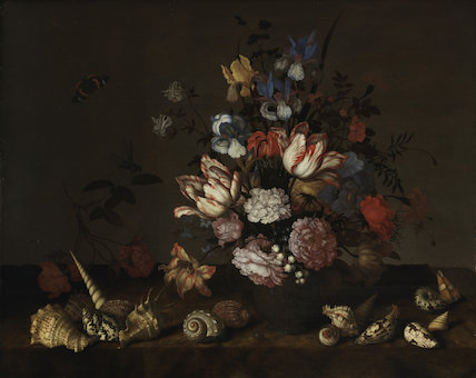 A vase of flowers with shells, by Balthasar van der Ast
