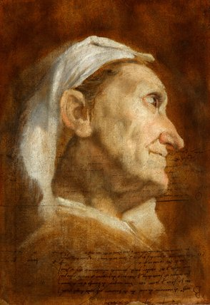 Head of an old woman, by Annibale Carracci