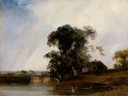 Landscape with a pond, by Richard Parkes Bonington