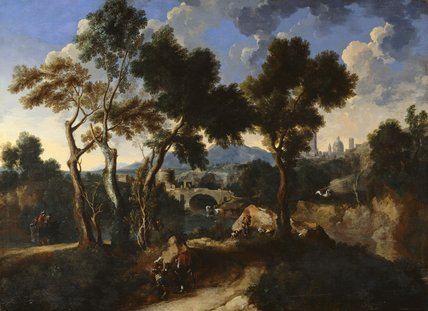 Landscape with figures, by Gaspard Dughet and Jan Miel