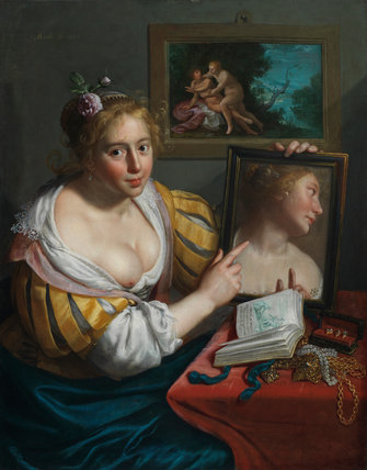 A girl with a mirror, an allegory of Profane Love, by Moreelse