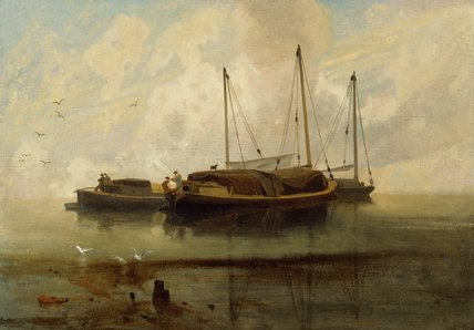 Wherries at Anchor on Breydon Water, by John Sell Cotman