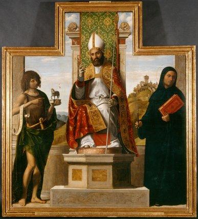 St Lanfranc enthroned, by Cima da Conegliano