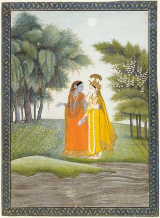 Krishna and Radha walking by moonlight, Kangra School
