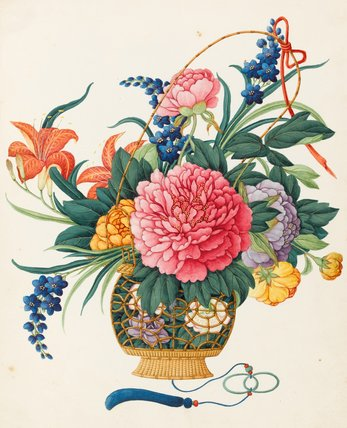A stylized study of mixed flowers with leaves, Chinese