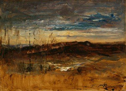 Paysage au coucher du soleil, by Auguste Francois Ravier