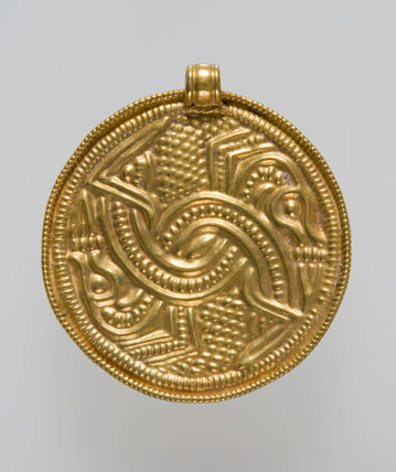 anglo saxon gold bracteate with lacertine monsters by unknown at fitzwilliam museum prints