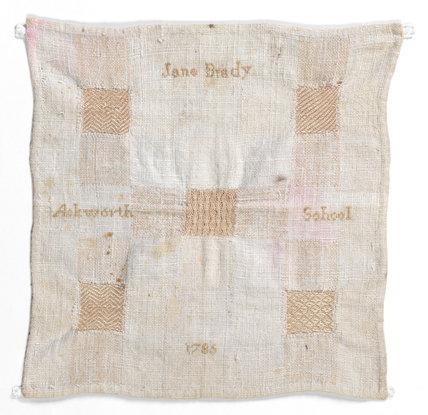 Linen darning sampler, by Jane Brady
