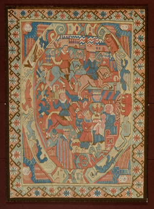 Norwegian tapestry with the Magi framed by animals