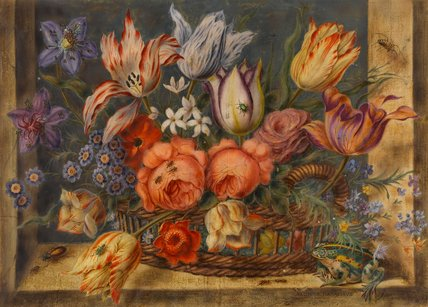 Flower study: various flowers in a basket, by Jacob Marrel