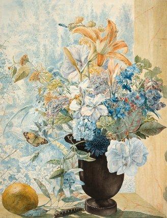 Scabius, rose, marigold, Passion flower, by Jan van Os