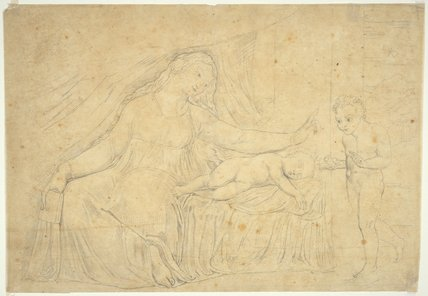 The Virgin hushing the young baptist, by William Blake