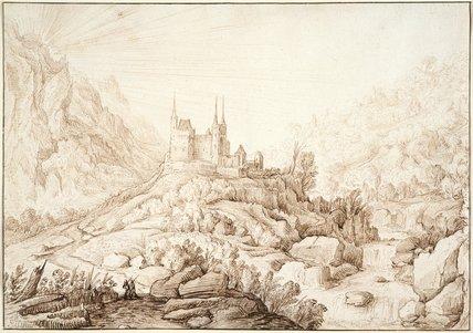 Mountainous landscape with a castle, by H. Cornelisz Vroom