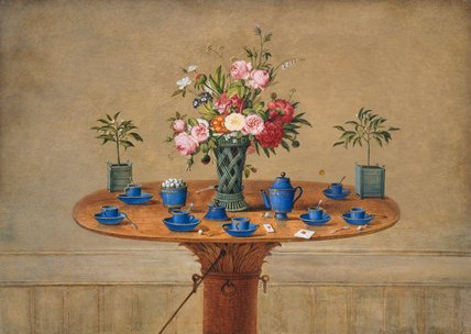 Still life with flowers and teacups, by Jean Louis Prevost