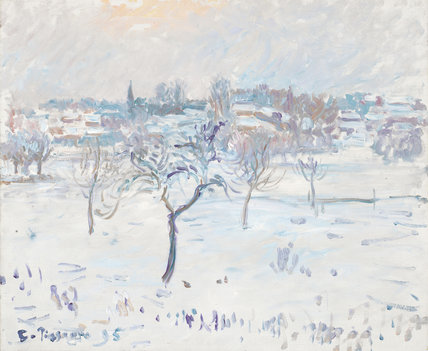Snowy landscape at Eragny with an apple tree, by Pissarro