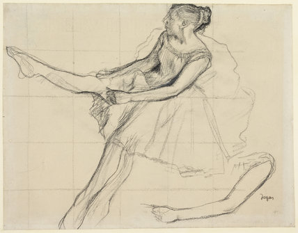 Danseuse rajustant son maillot, by Degas