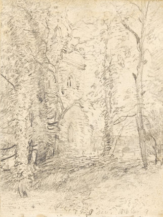 Church tower seen through trees, by Constable