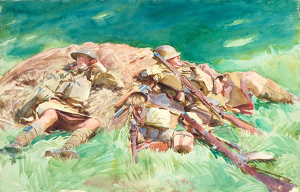 Highlanders Resting at the Front, by Sargent