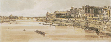 View of the Louvre and the Pont des Tuileries, by Thomas Girtin