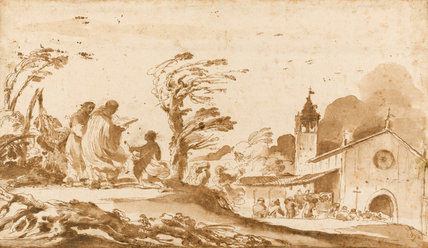Landscape with a Funeral Procession, by Guercino