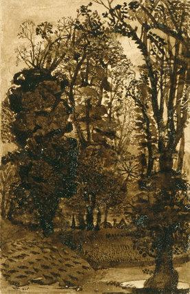 Dark Trees by a Pool, by Samuel Palmer