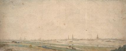 A view of Calais across the fields, by Abraham de Verwer