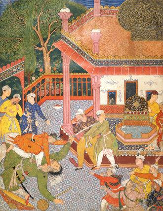 A Hero Slays a Giant, from the Hamzanama, Mogul School
