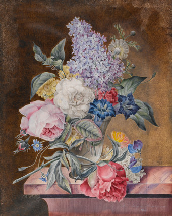 Vase of flowers on a marble ledge, by Lucy de Beaurepaire