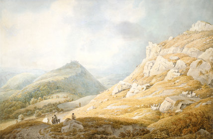 Llangollen with Dinas Bran Castle, by Michael Angelo Rooker