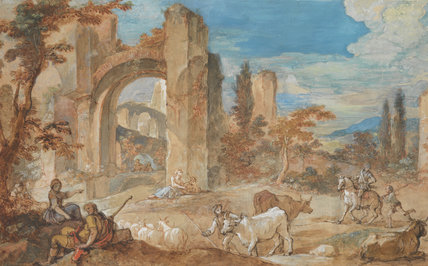 An Italian Landscape with Ruins, by Charles Joseph Natoire
