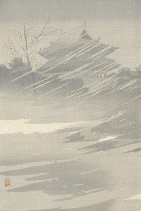 Braving heavy snow, by Taguchi Beisaku