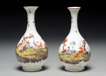 Pair of Vases, by Jefferyes Hamett O'Neale, Chelsea Porcelain
