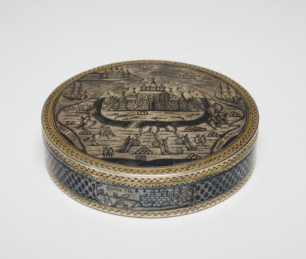 Silver Box Decorated with a View of a Siege, Russian