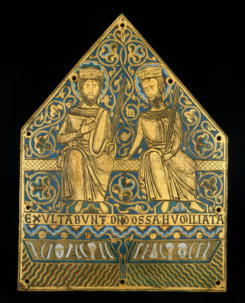 Limoges enamel, two crowned martyrs from a reliquary