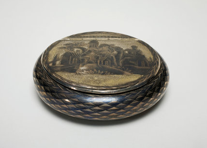 Round Silver Box, with a Rustic Scene, Russian