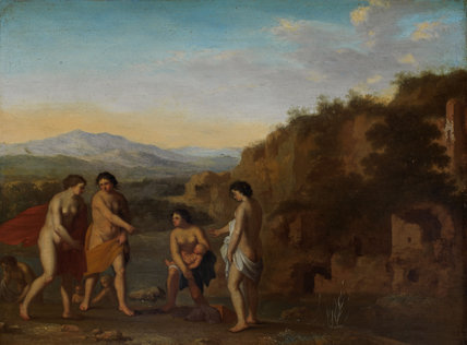 The finding of Moses, by Cornelis van Poelenburgh