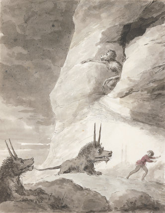 Monsters chasing a man, by George Dance