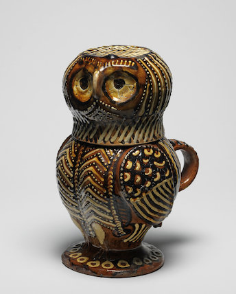 Staffordshire lead-glazed owl jug