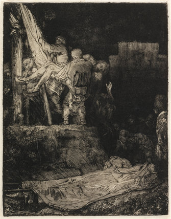 The Descent from the Cross by torchlight, by Rembrandt