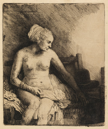 Woman at the bath with a hat beside her, by Rembrandt