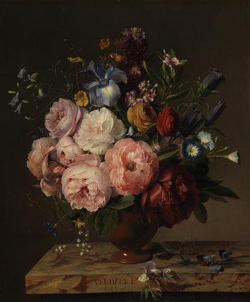 A vase of flowers on a ledge, by Jan Frans van Dael