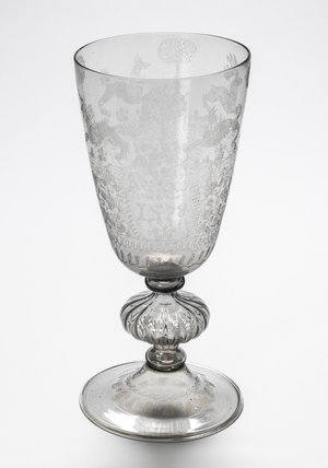 Elizabethan engraved glass goblet, by Giacomo Verzelini