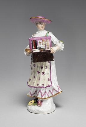 A Tyrolian woman selling trinkets, Meissen Factory