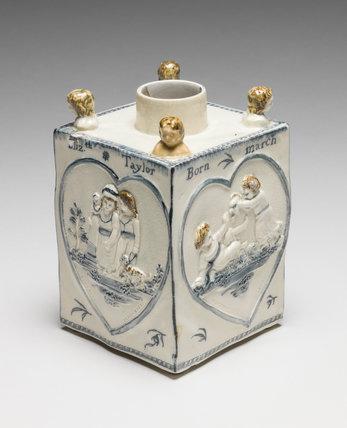 English pearlware tea caddy